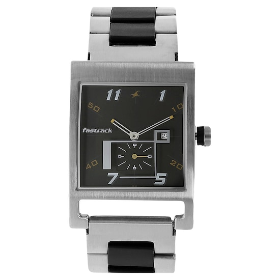 ce3efaf3b05ccf Buy Fastrack Black Square Dial Stainless Steel Strap Analog Watches ...