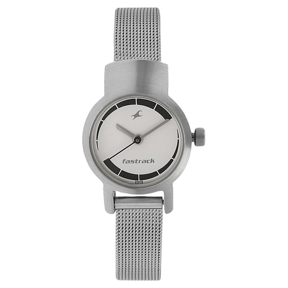 buy fastrack silver round dial metal strap analog watches