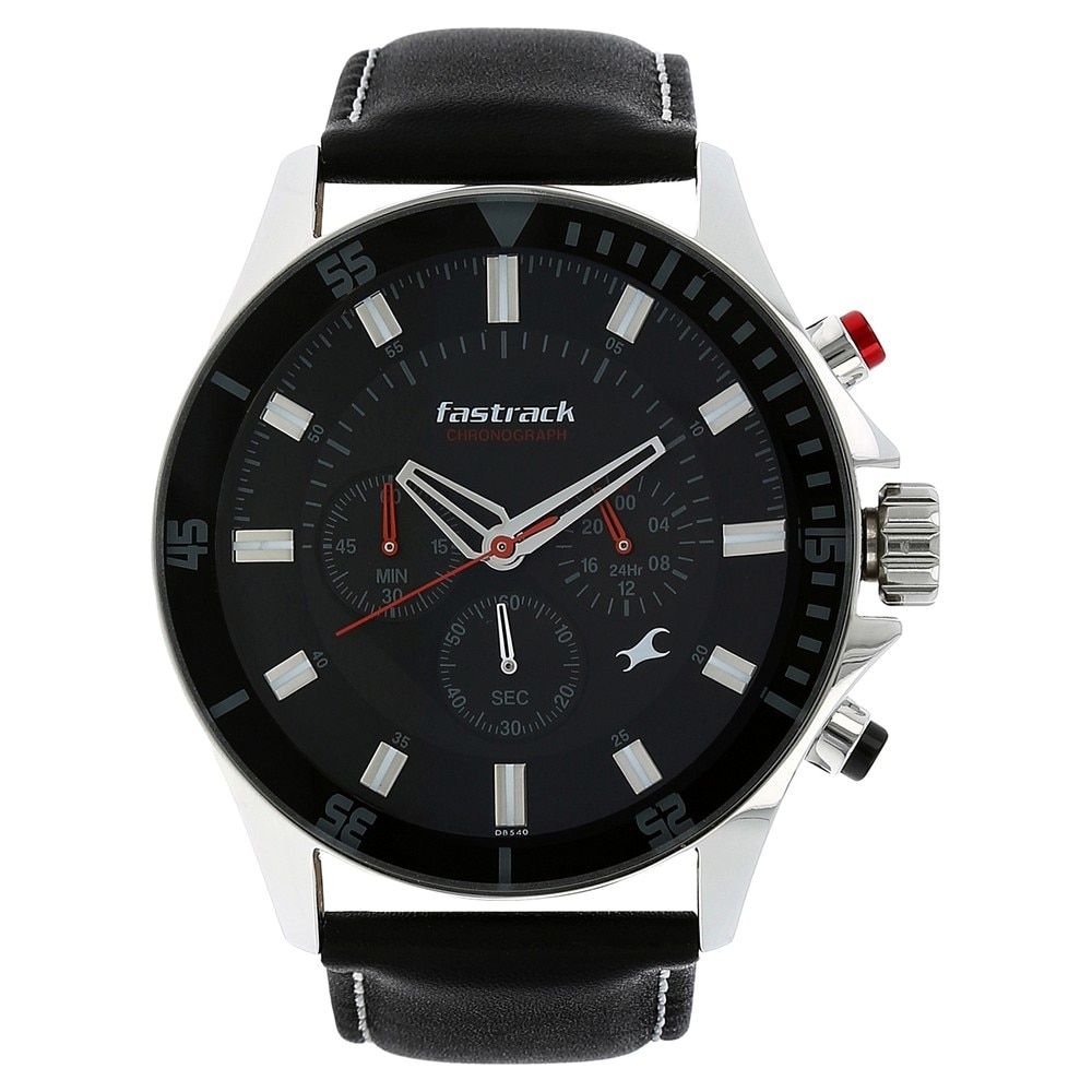 buy fastrack black round dial leather strap chronograph