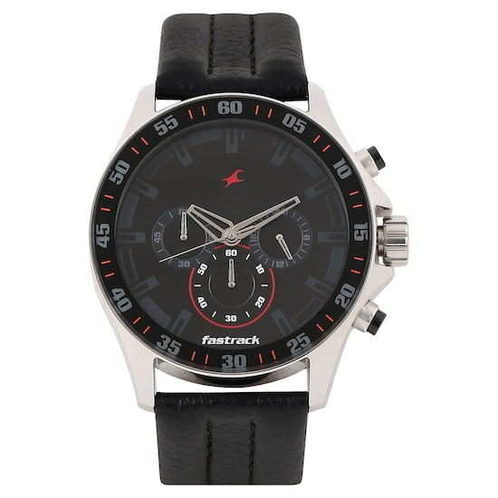 9150c2b8e Buy Fastrack Black Round Dial Leather Strap Chronograph Watches For ...