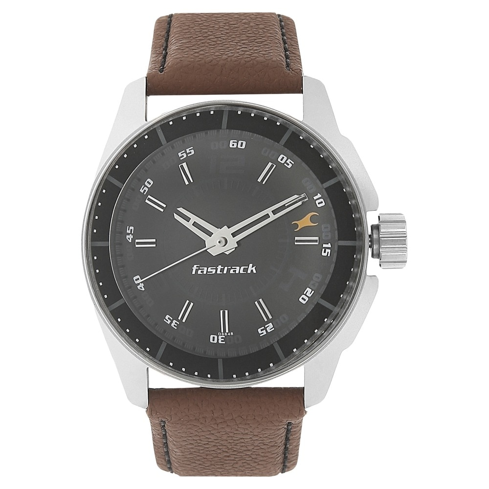 buy fastrack black round dial leather strap analog watches