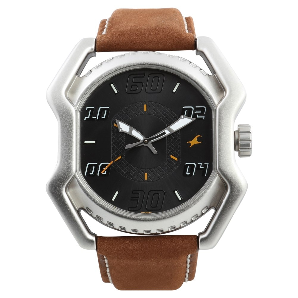 Buy Fastrack Analog Black Dial Leather Strap Watch for ...