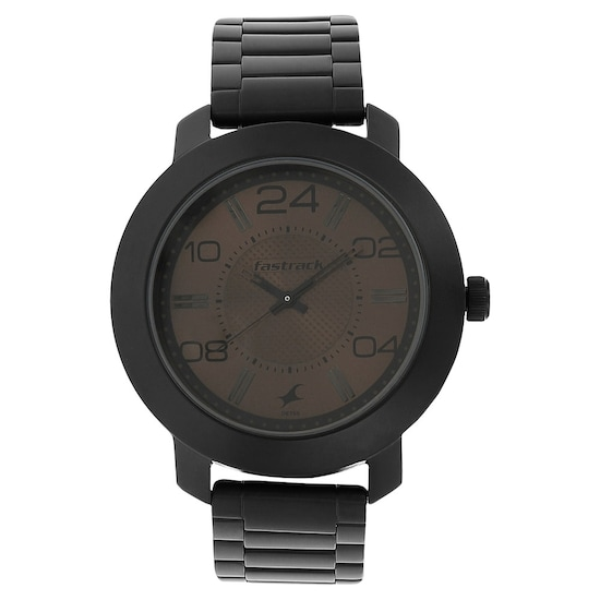Brown Dial Black Stainless Steel Strap Watch