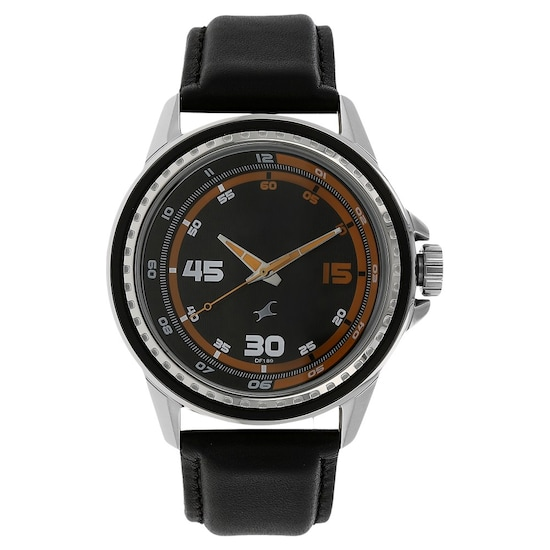 39ecf71e1 Buy Fastrack Black Round Dial Leather Strap Analog Watches For Guys ...