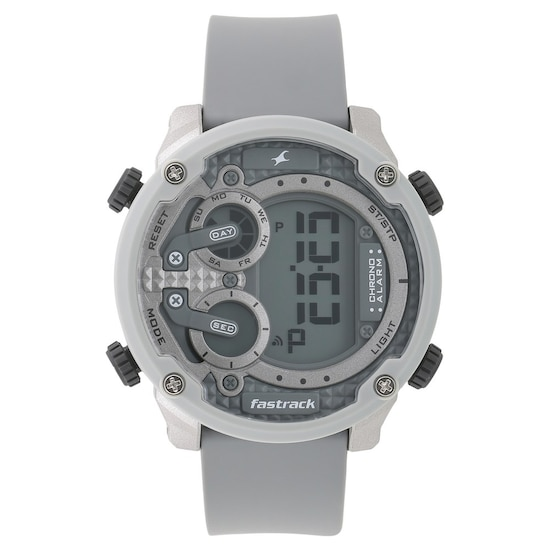 Types Of Watch Bands >> Buy Fastrack Grey Round Dial Silicone Strap Digital ...