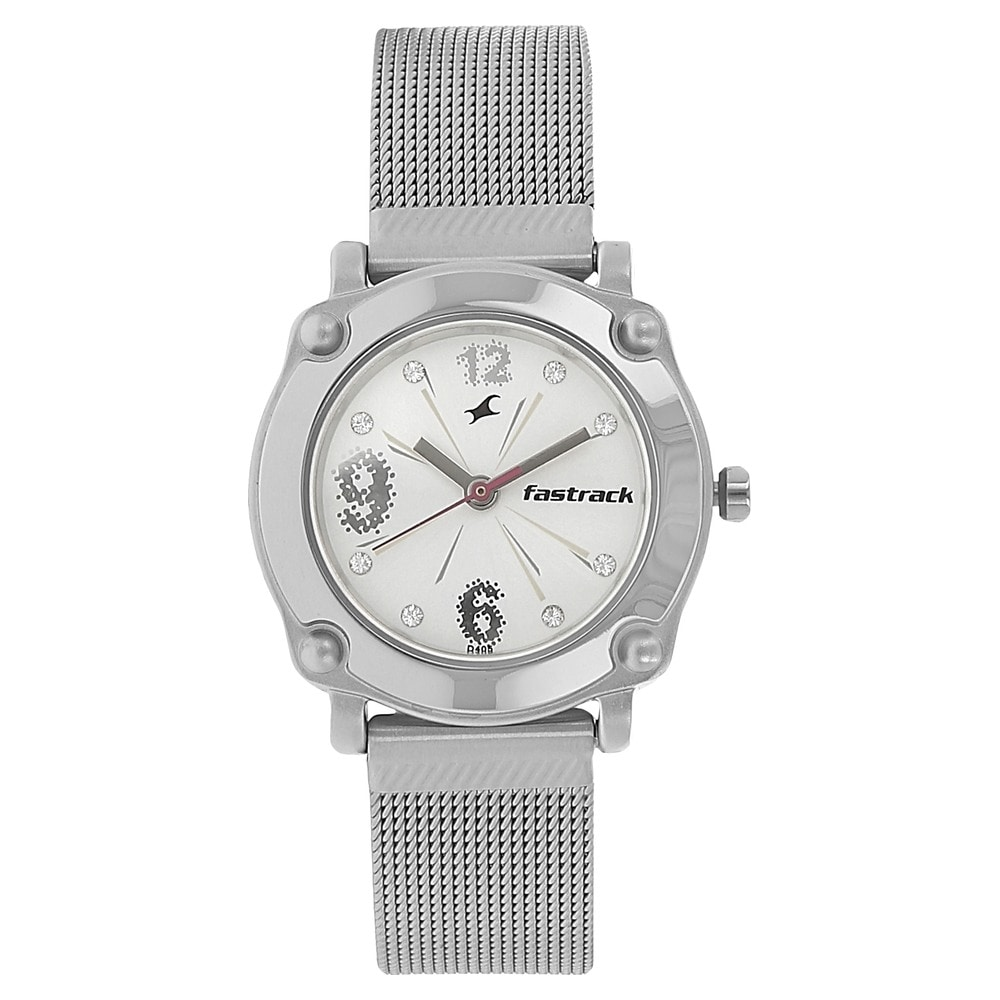buy fastrack silver round dial stainless steel strap