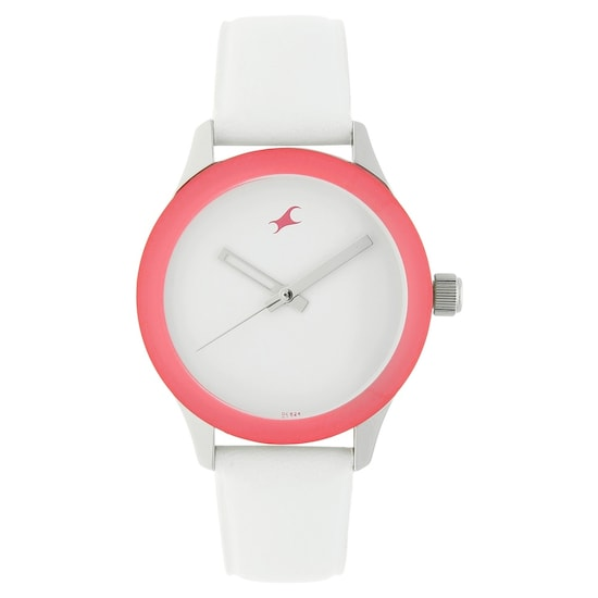 44bce3733 Buy Fastrack White Round Dial Leather Strap Analog Watches For Girls ...