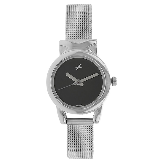 buy fastrack black round dial metal strap analog watches