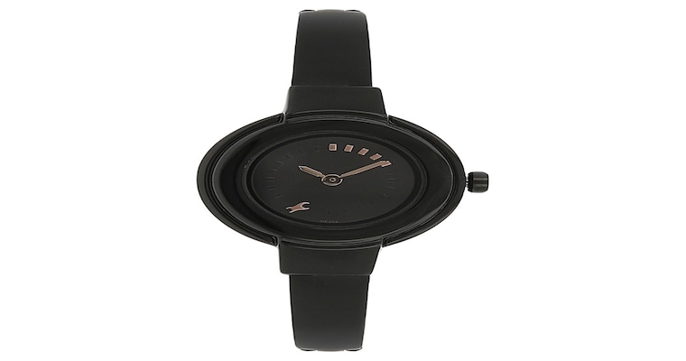 buy fastrack black round dial stainless steel strap analog