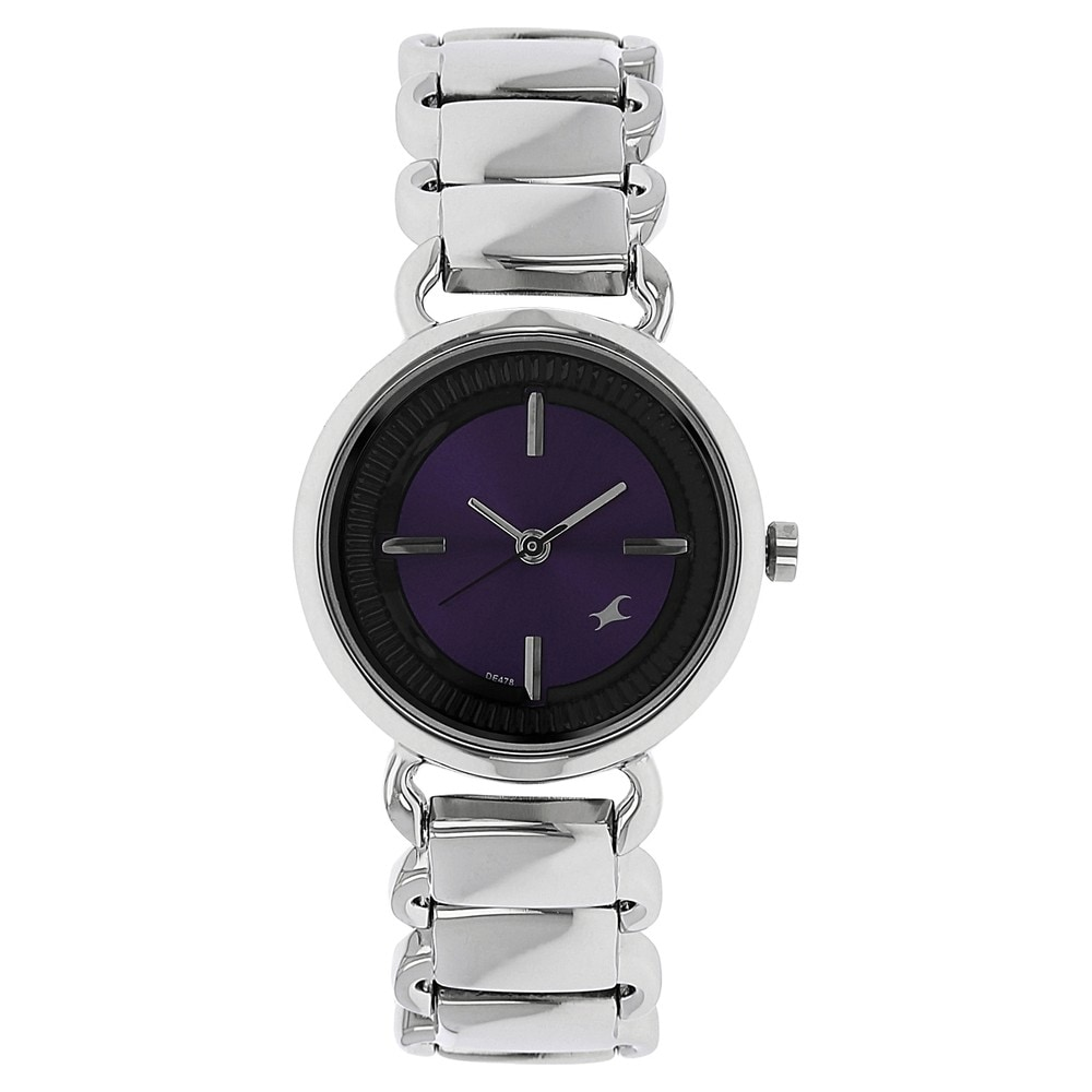 buy fastrack purple round dial stainless steel strap