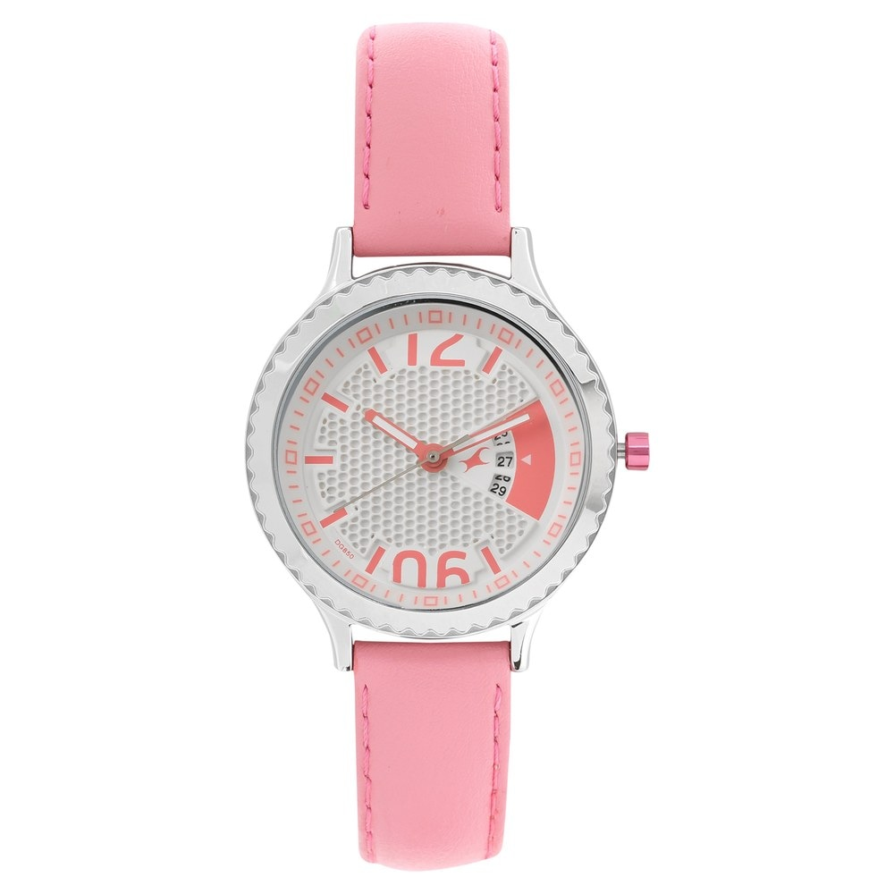 buy fastrack white round dial leather strap analog with
