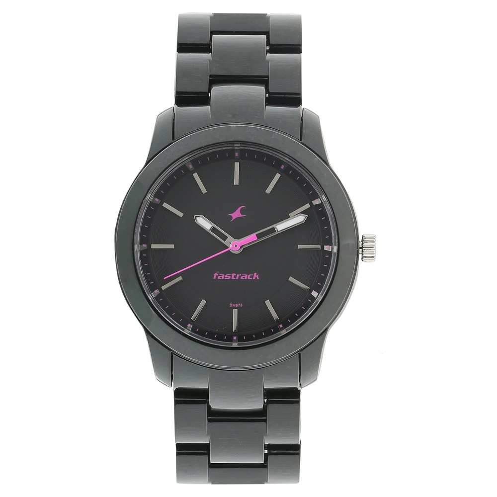 buy fastrack black round dial plastic strap analog watches