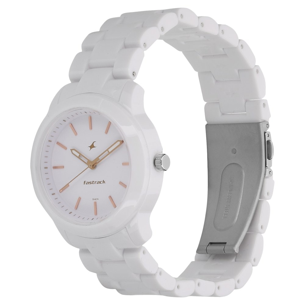 Buy Fastrack White Round Dial Plastic Strap Analog Watches For ...