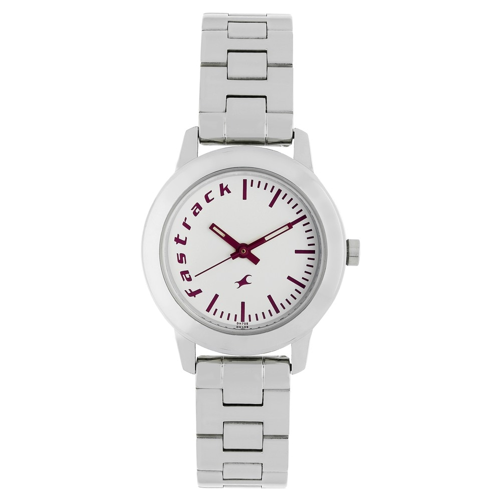 buy fastrack white round dial stainless steel strap analog