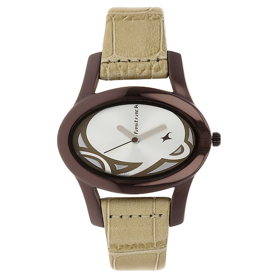 buy fastrack silver oval dial leather strap analog watches