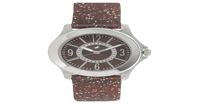 buy fastrack brown round dial plastic strap analog watches