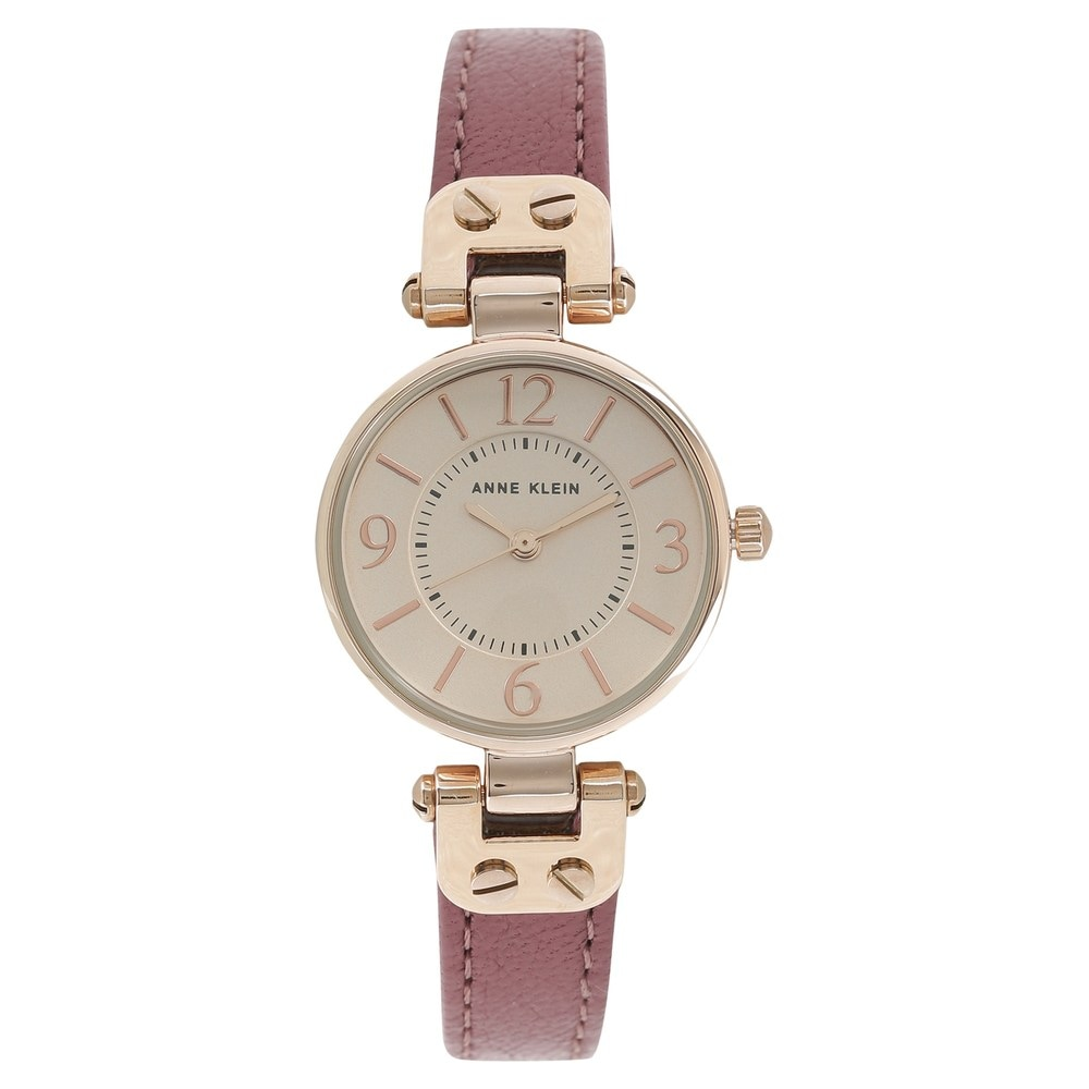 Rose Gold Dial Maroon Leather Strap Watch