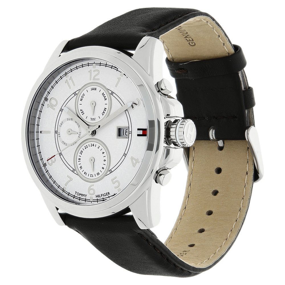 99b5c1eb1 Buy Tommy Hilfiger White Round Dial Leather Strap Chronograph ...