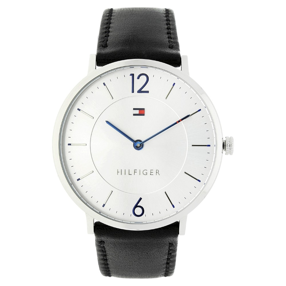 Buy Tommy Hilfiger Silver Round Dial Leather Strap Analog Watches