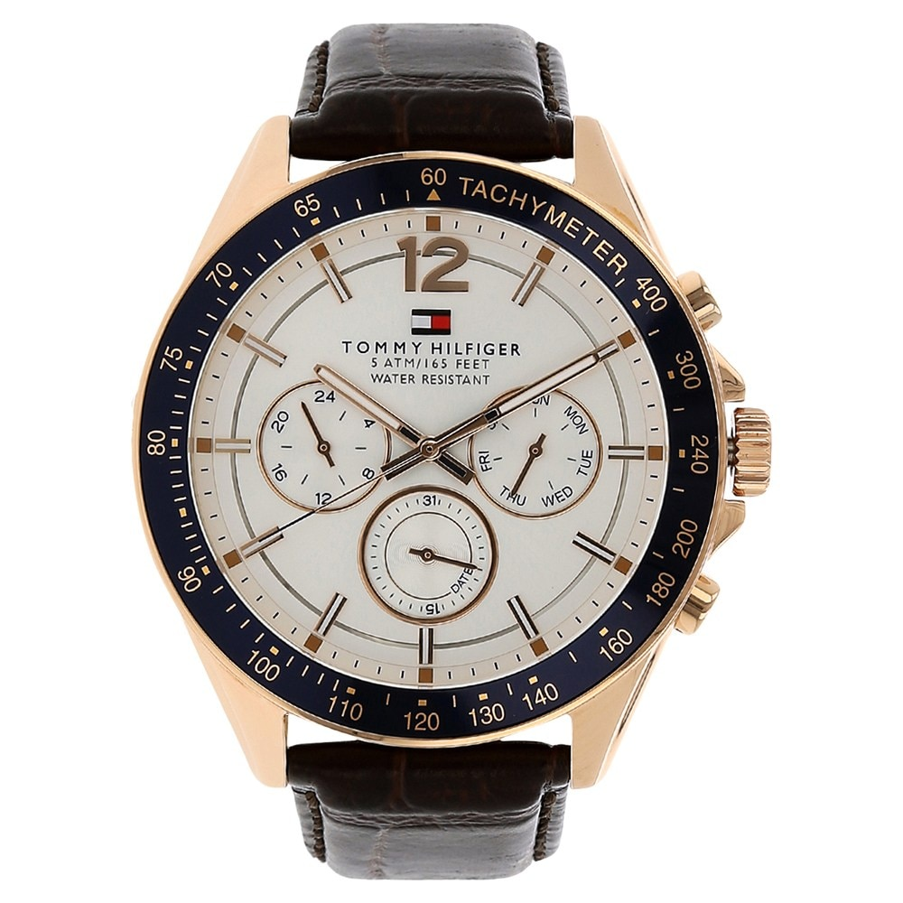 6a37383080 Buy Tommy Hilfiger White Round Dial Leather Strap Chronograph ...