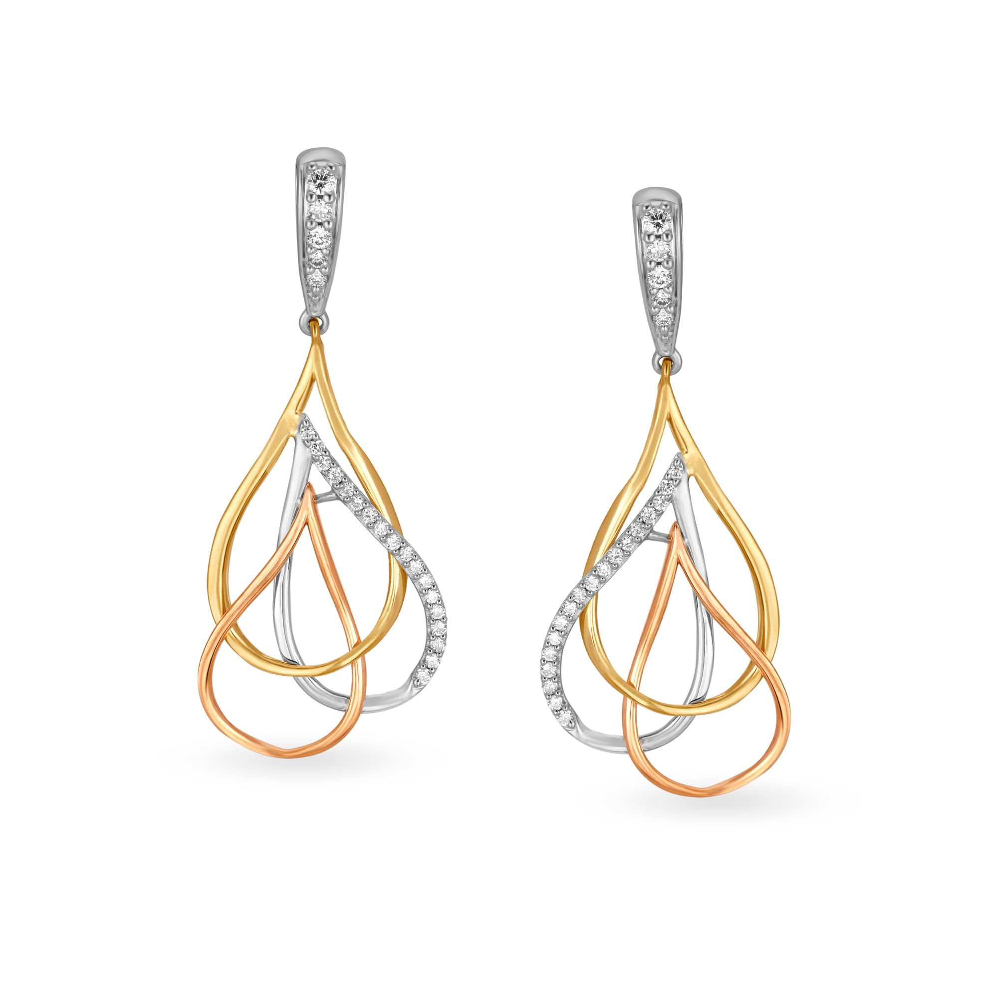 211a94d6a50a6 Mia by Tanishq 14KT Yellow Gold Diamond Drop Earrings with Teardrop Design