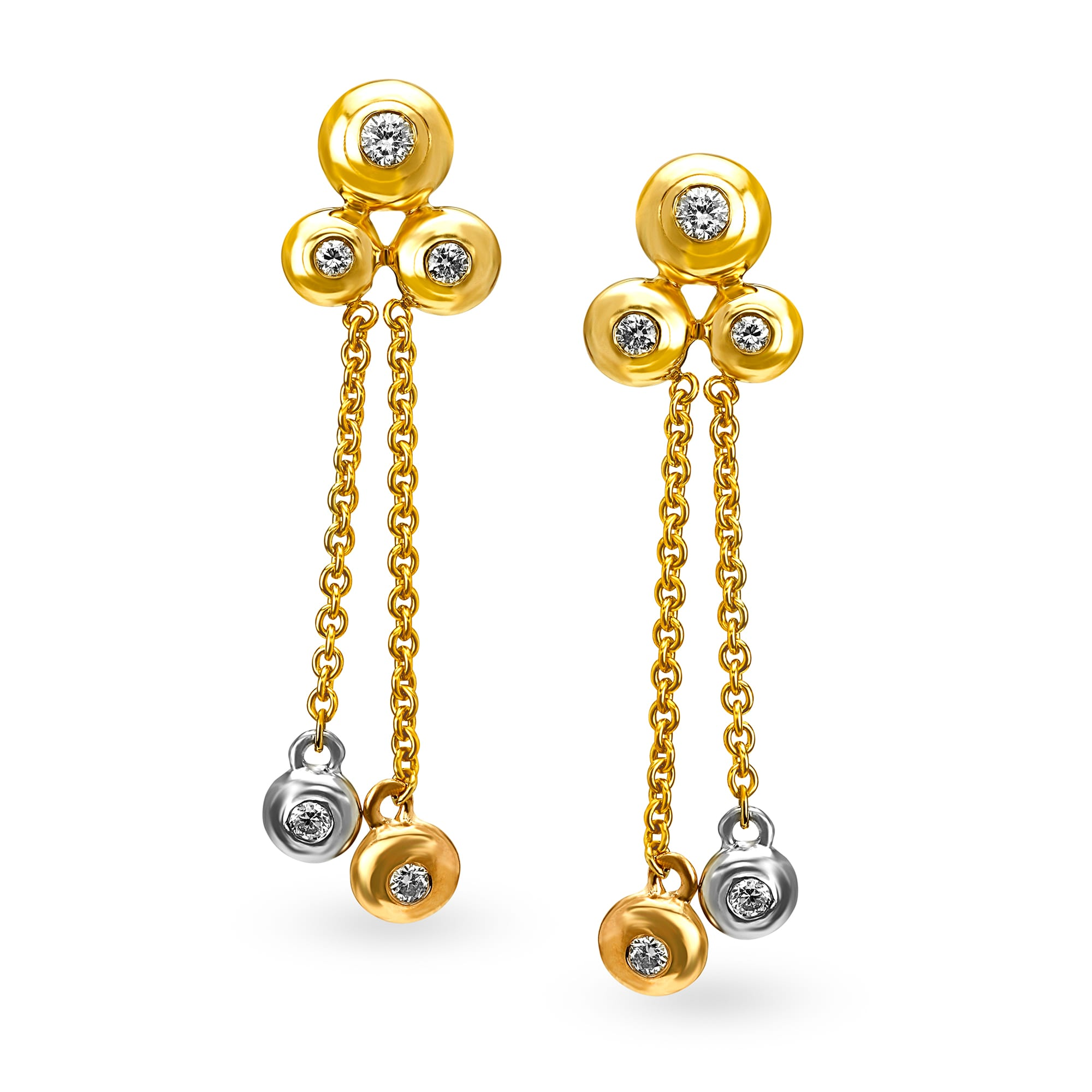 5188e271a5c02 Mia by Tanishq 14KT Yellow Gold Diamond Drop Earrings with Bezel Design