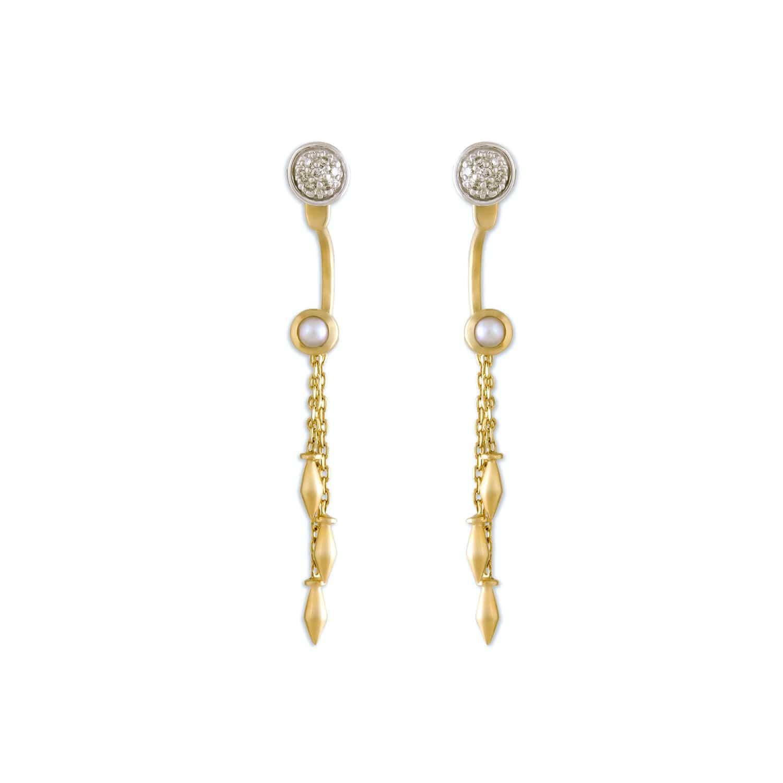 4e9f940a4aa64 Mia by Tanishq 14KT Yellow Gold Diamond Pearl Drop Earrings with Danglers