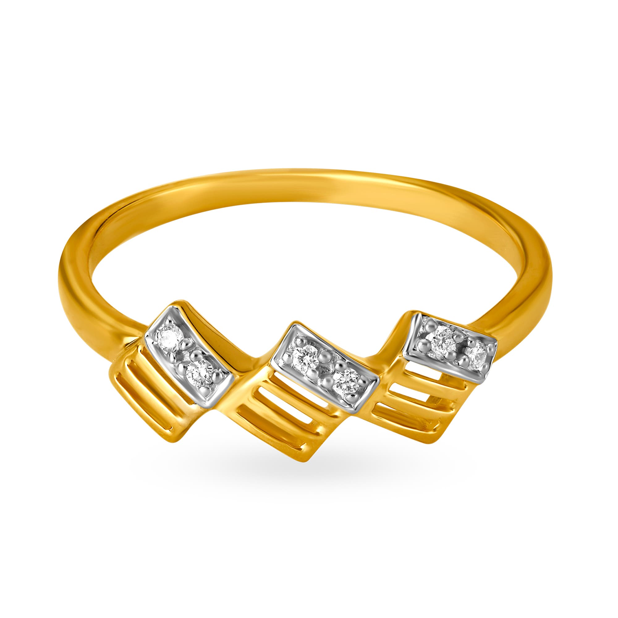 Mia by Tanishq Friends of Bride 14KT Yellow Gold Diamond Finger Ring with  Slanted Square Design