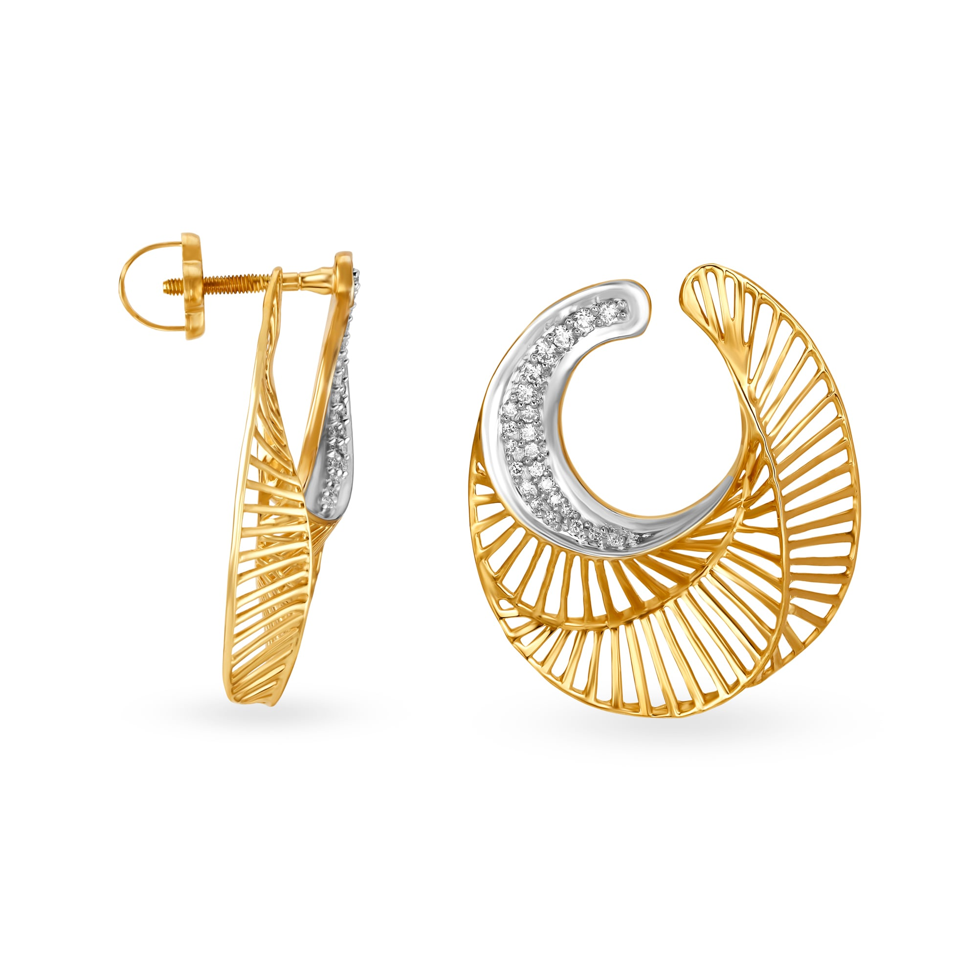 cd068ae460b7a Mia by Tanishq 14KT Yellow Gold Diamond Hoop Earrings with Openwork ...