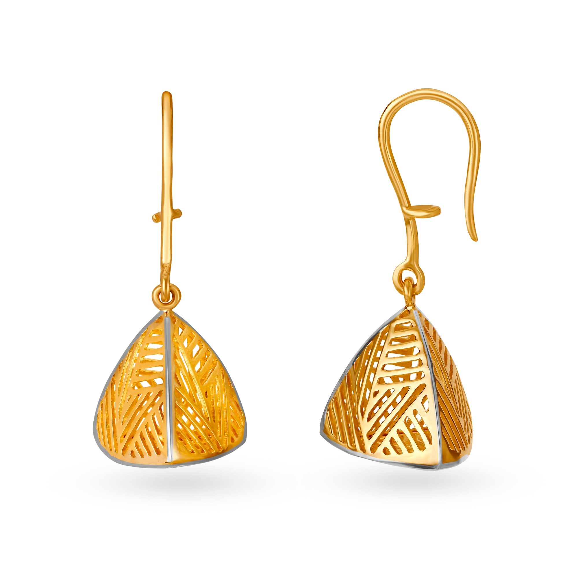 Mia By Tanishq 14kt Yellow And White Gold Hoop Earrings With Triangular Design Tanishq