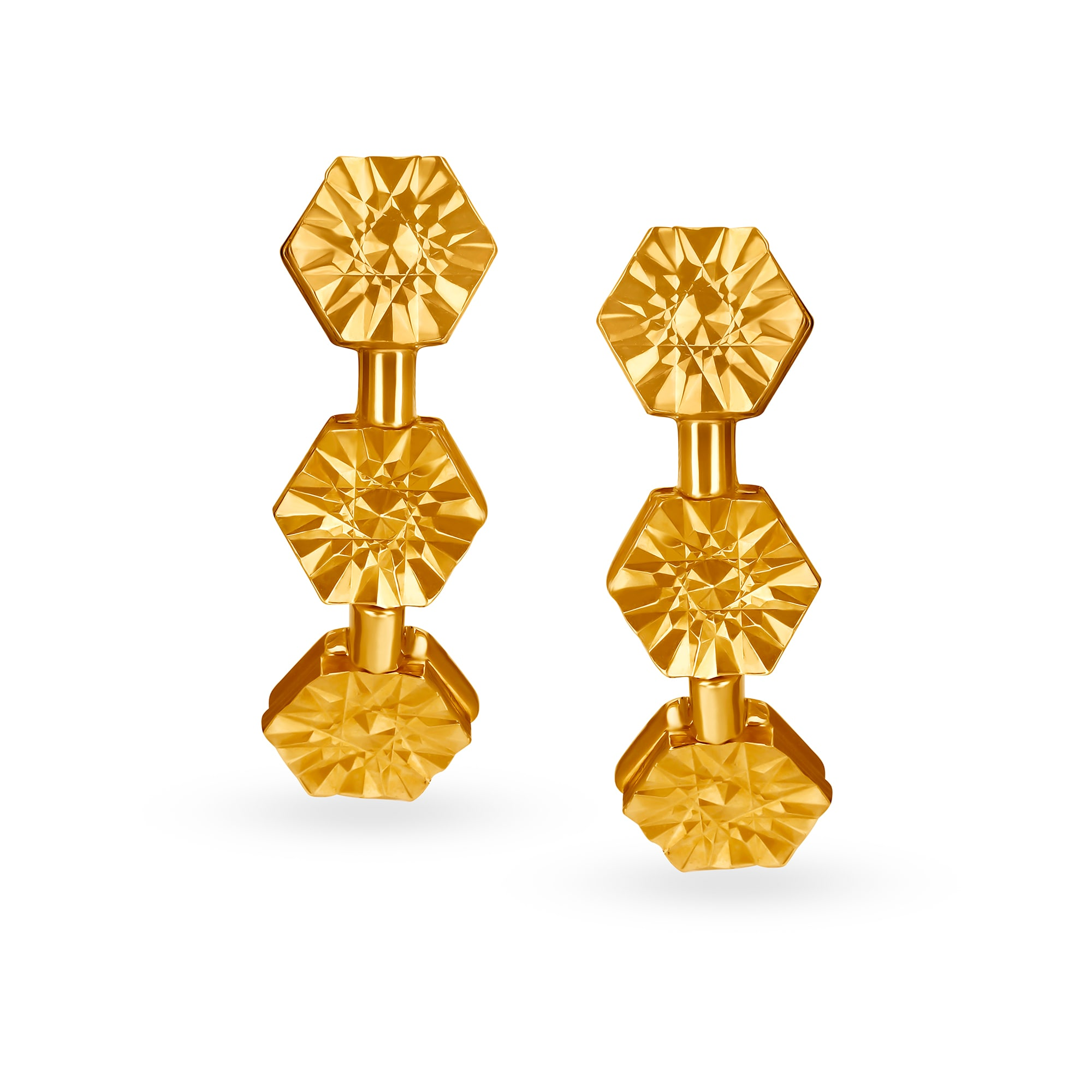 fae04908f8a35 Mia by Tanishq 14KT Yellow Gold Hoop Earrings with Hexagon Design