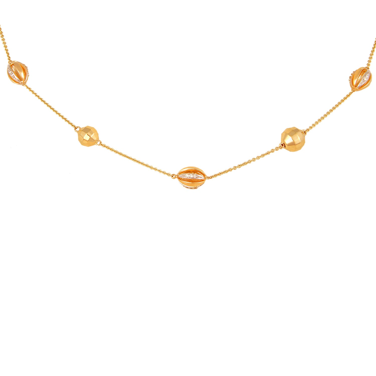 Mia by Tanishq 14KT Yellow Gold Diamond Necklace with Oval Bead Elements