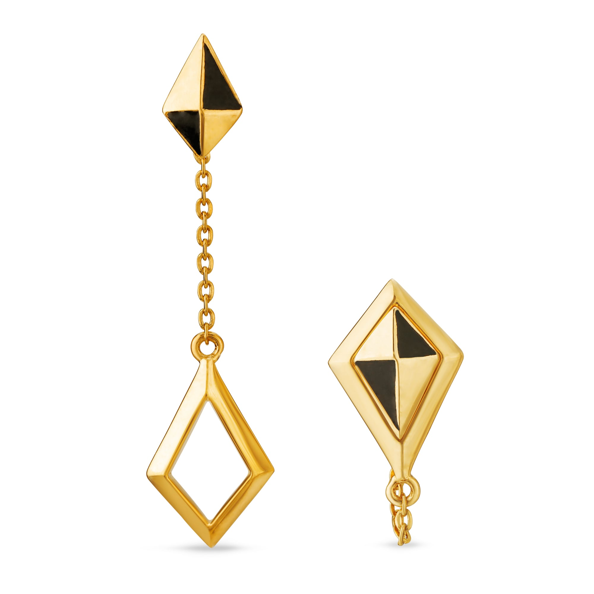 8da147133d094 Mia Multitaskers by Tanishq 14KT Yellow Gold Drop Earrings with  Diamond-Shaped Design