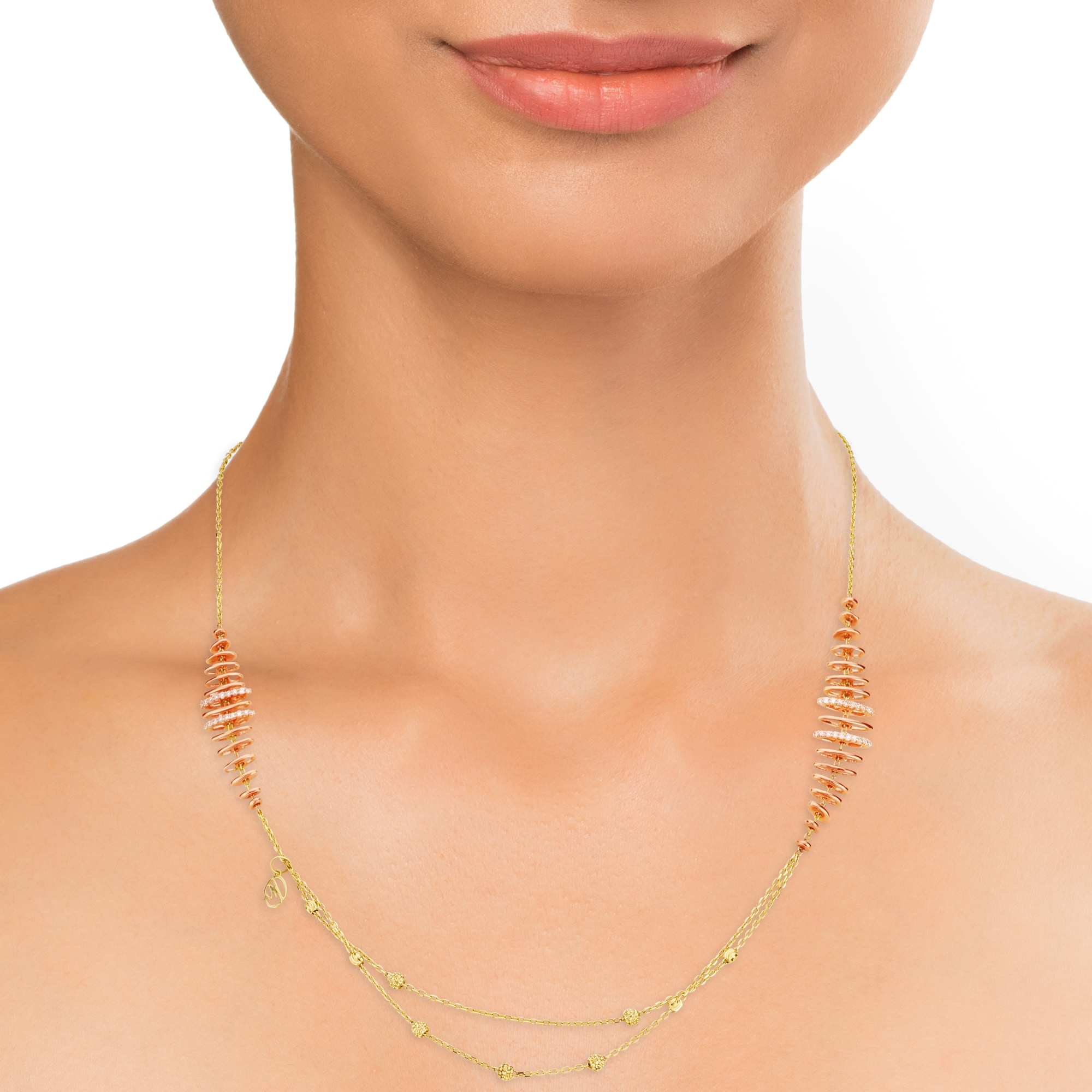 Mia Multitaskers by Tanishq 14KT Yellow Gold Diamond Necklace with Orb  Design
