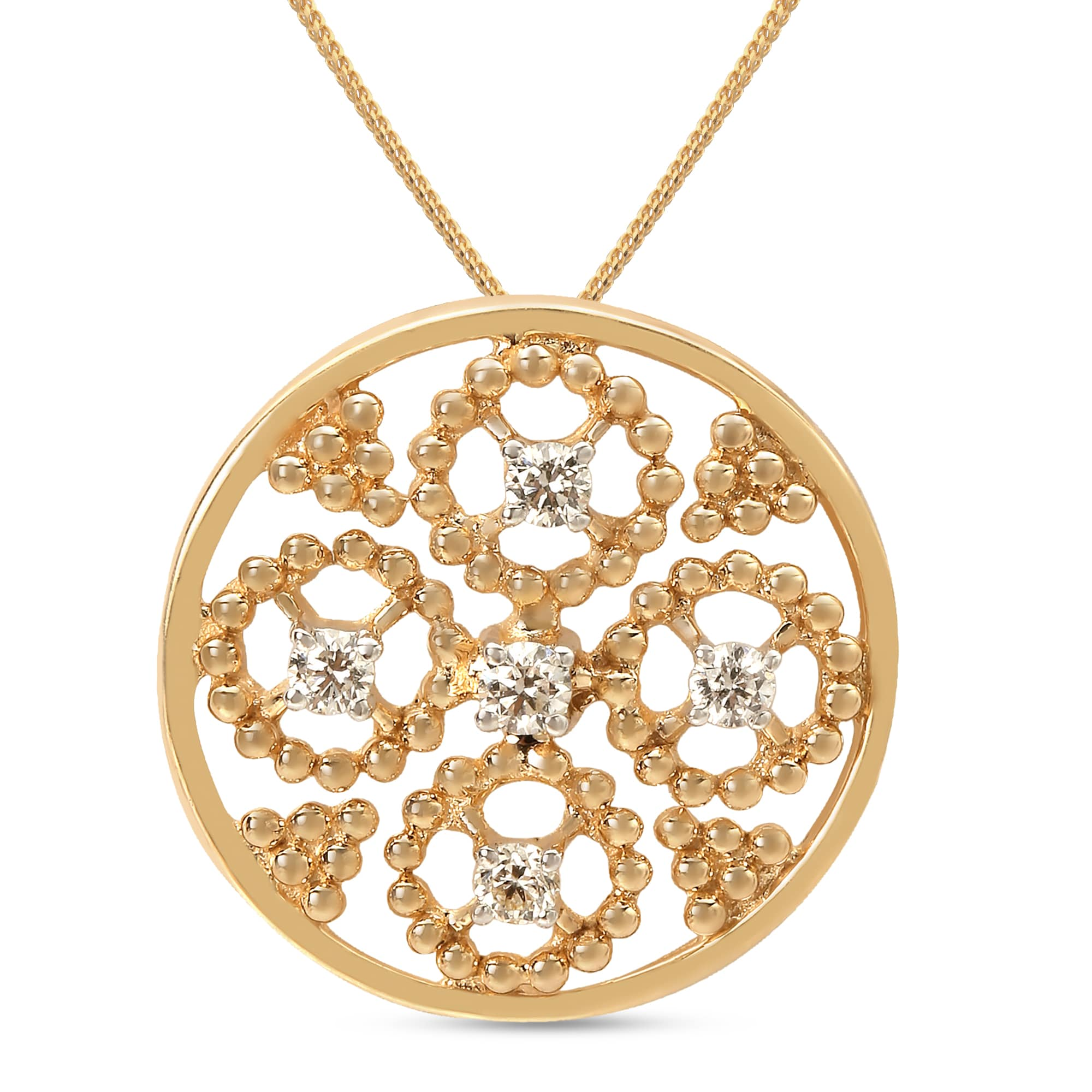 Mia by Tanishq Friends of Bride 14KT Yellow Gold Diamond Pendant with Oval  Design