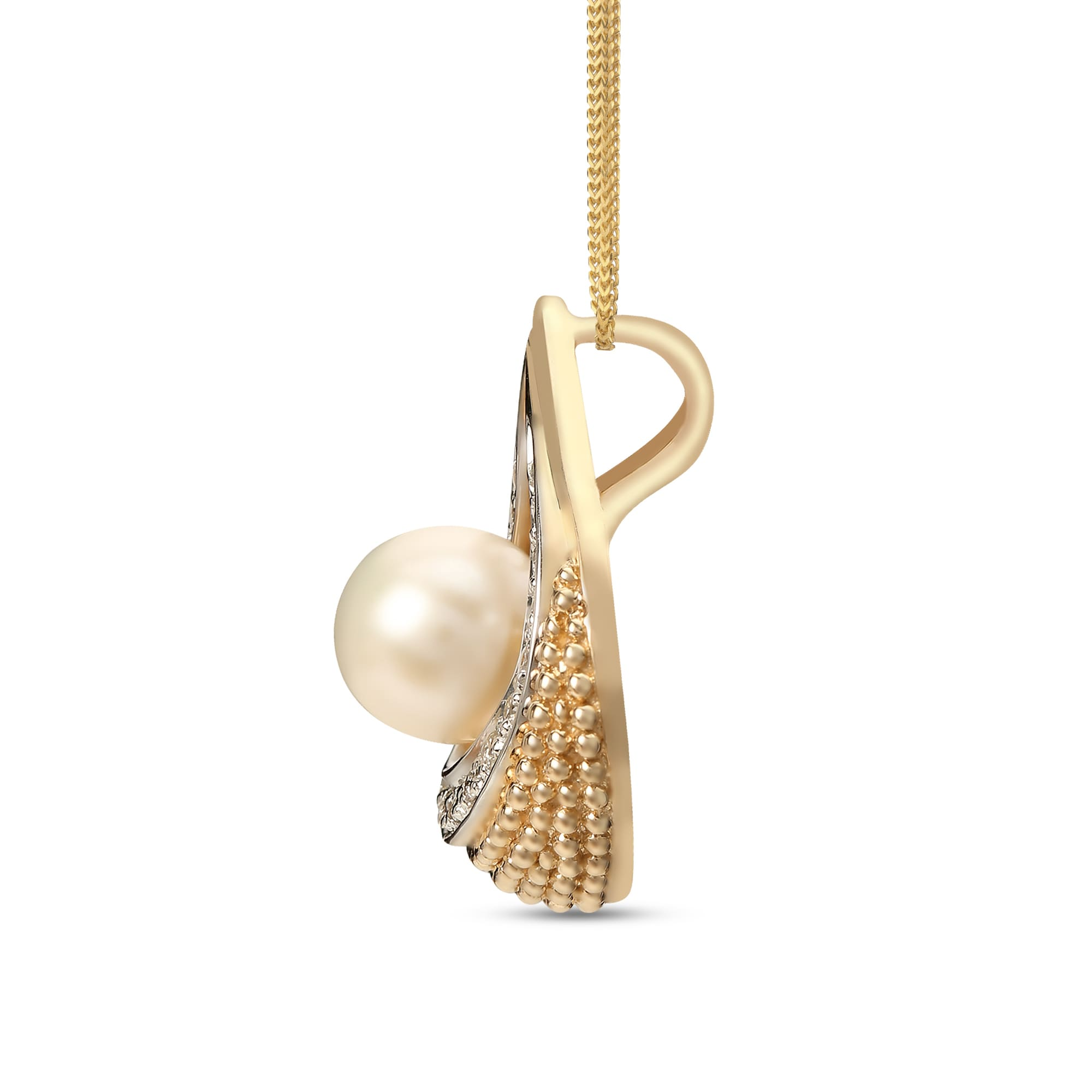 a4e4ec1077996 Mia All-Rounders by Tanishq 14KT Yellow Gold Diamond And Pearl Pendant with  Teardrop Design