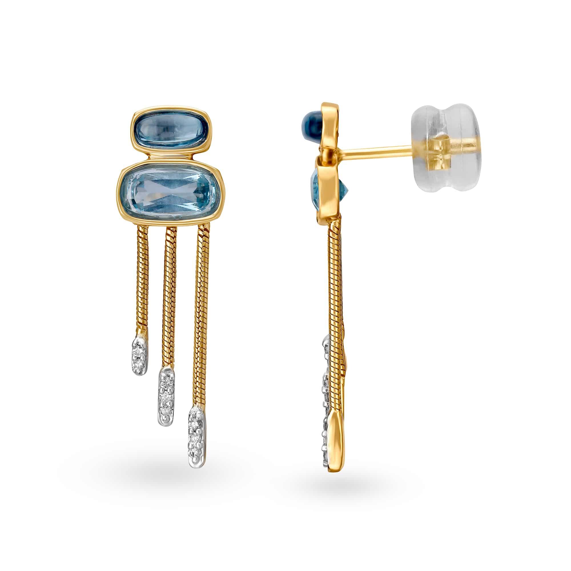 bb4aa4423f795 Mia by Tanishq 14KT Yellow Gold Diamond Drop Earrings