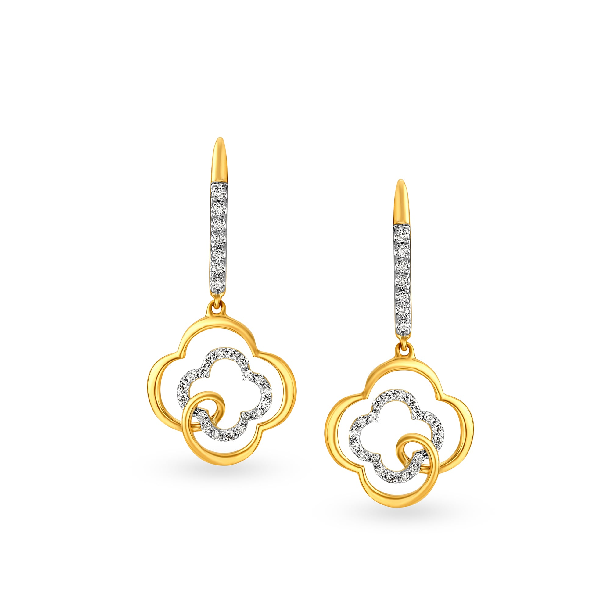 cfd394cbfa6fa Mia by Tanishq 14KT Yellow Gold Diamond Drop Earrings with Floral Design