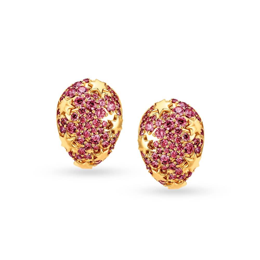 Mia By Tanishq 14 Kt Yellow Gold Cubic Zirconia Hoop Earrings Tanishq