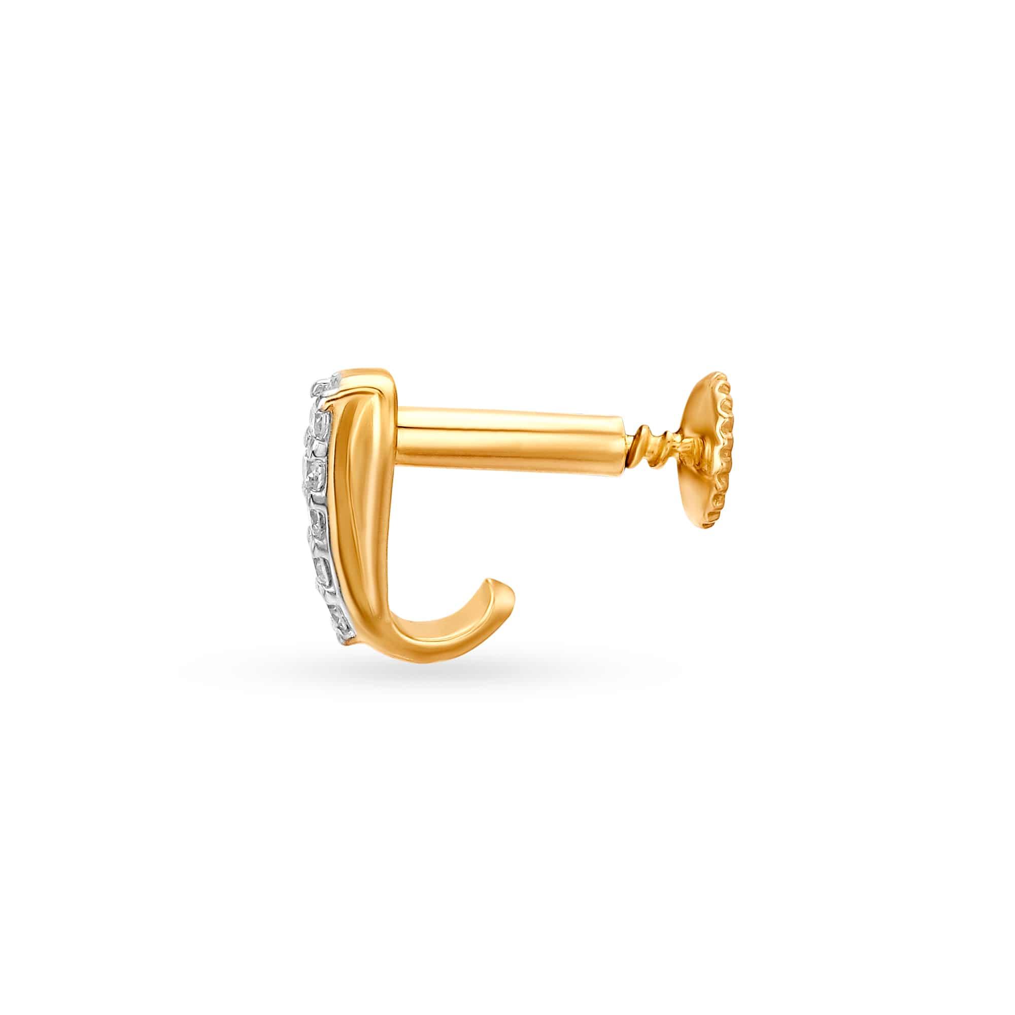 Mia By Tanishq 14kt Yellow Gold Diamond Nose Pin Mia