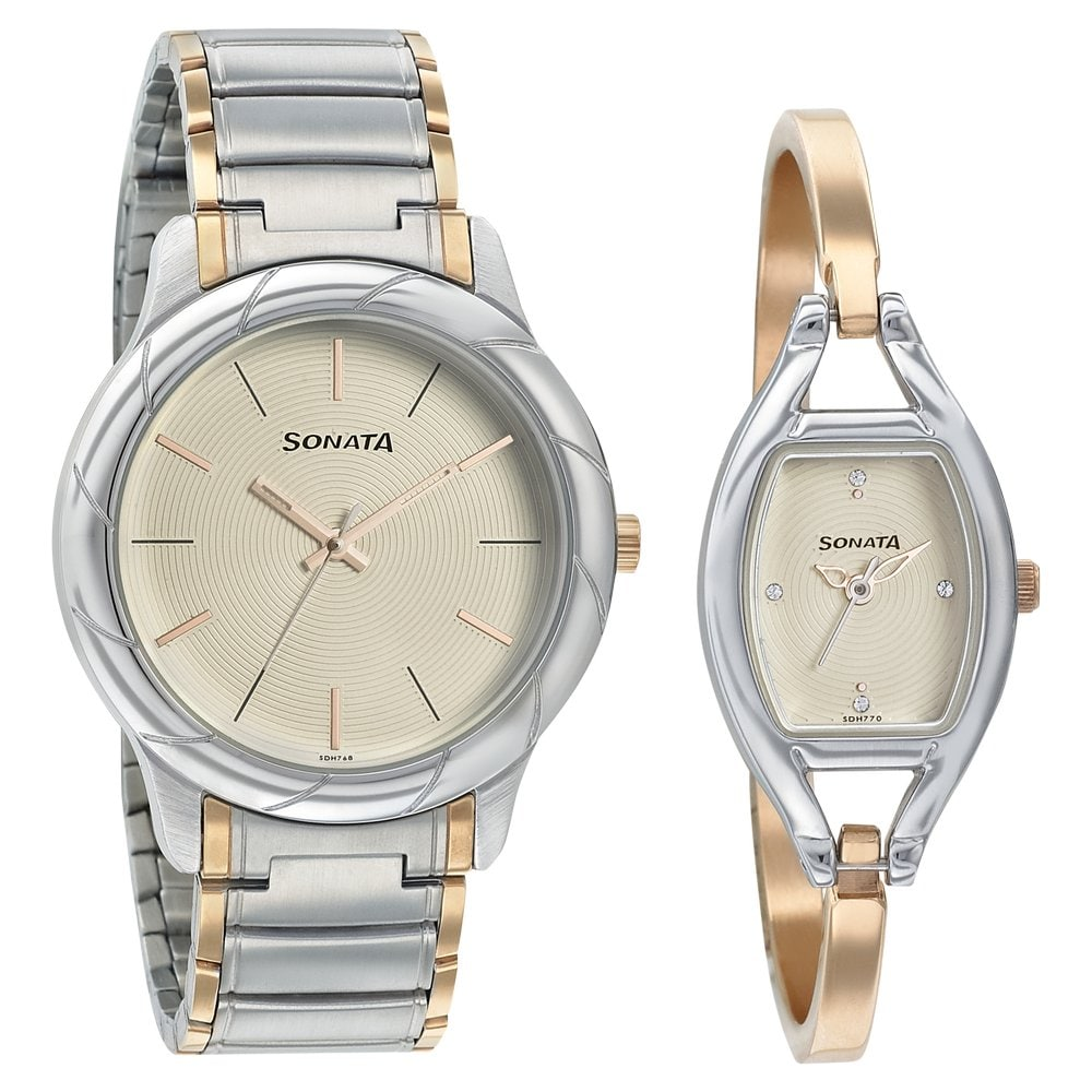 3e9d669be Beige Dial Two Toned Stainless Steel Strap Watches