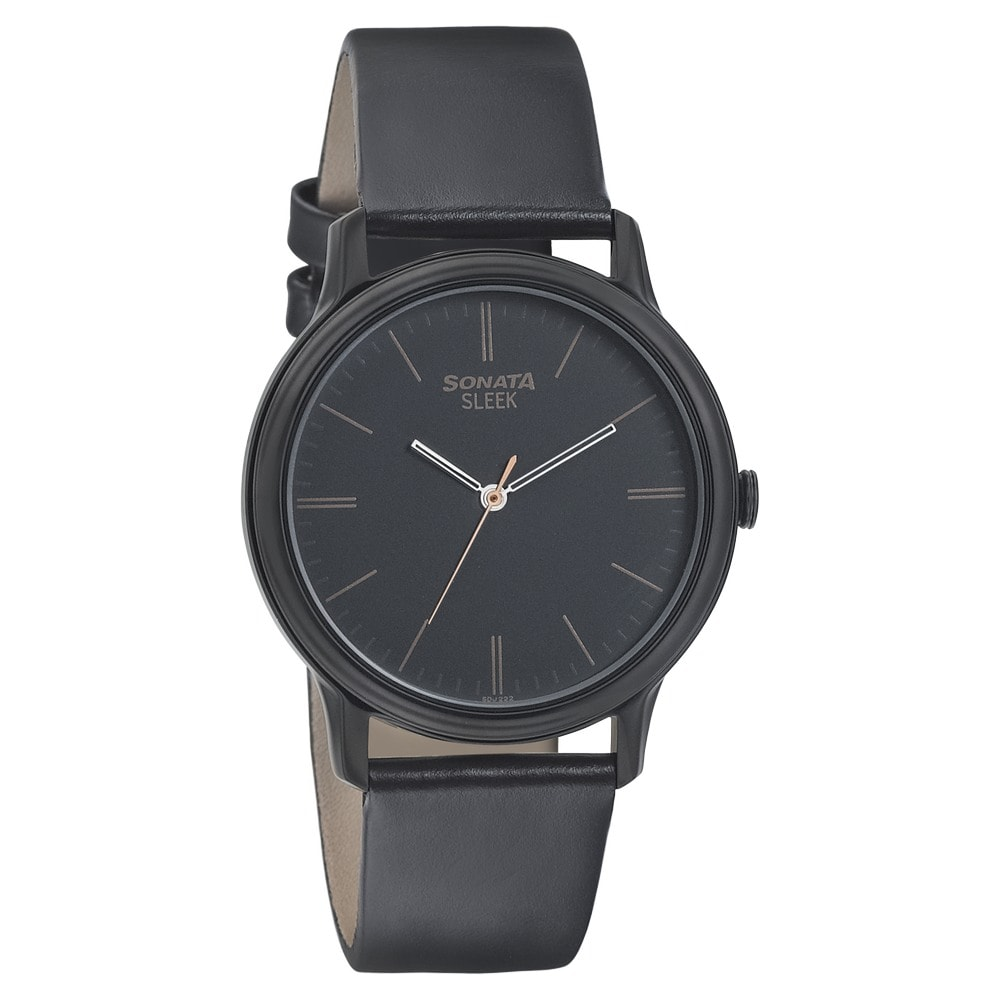 5fc8ffa0108 Buy Sonata Black Round Dial Leather Strap Analog Watches For Men 7128NL02 Buy  Online at Best Price in India   Titan.co.in