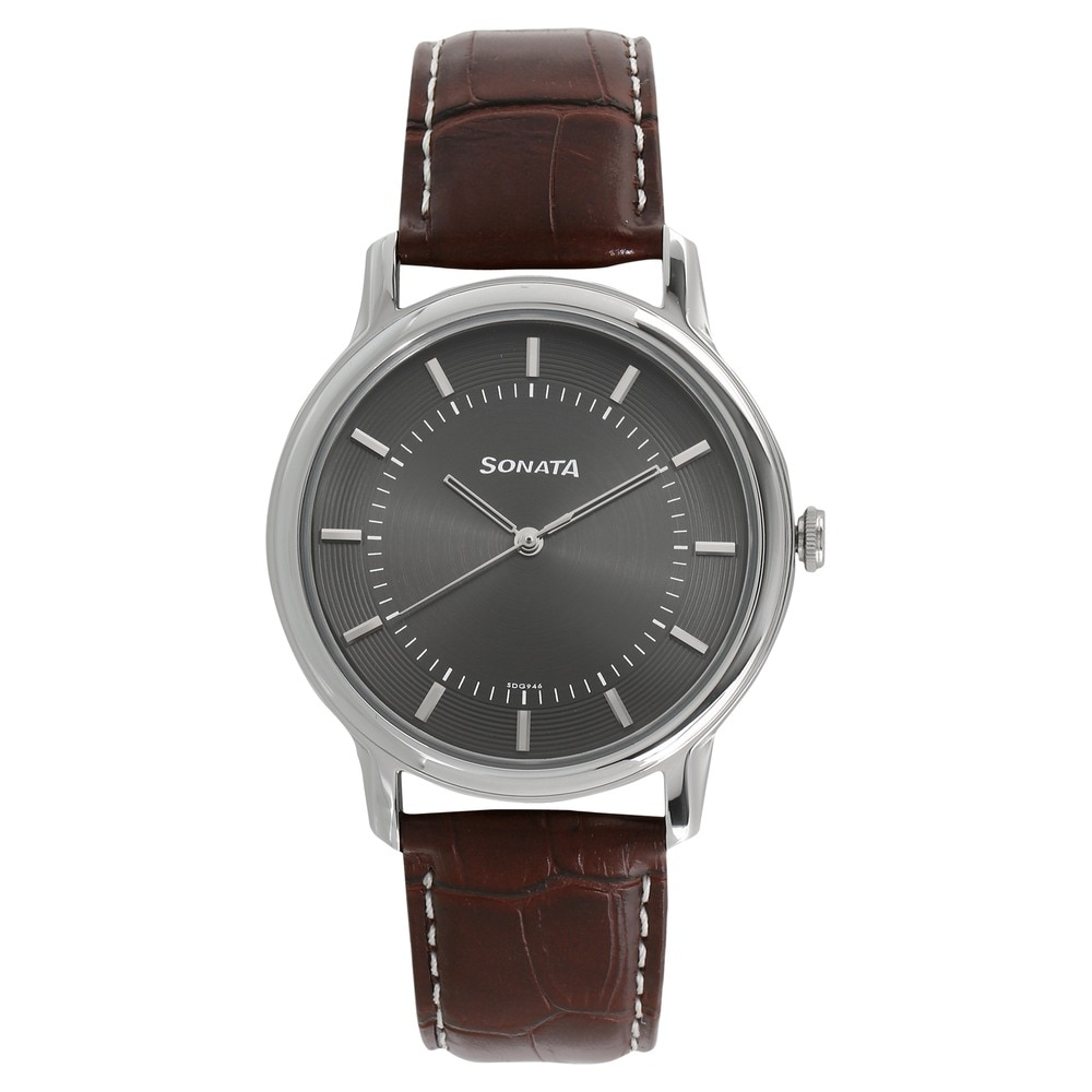 ddb6c2ba98 Buy Sonata Anthracite Round Dial Leather Strap Analog Watches For Men  7128SL02 Buy Online at Best Price in India : Titan.co.in | Sonata