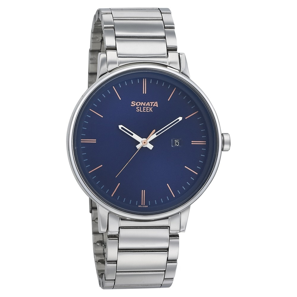2a70cef2a20 Buy Sonata Blue Round Dial Stainless Steel Strap Analog Watches For Men  7131SM01 Buy Online at Best Price in India   Titan.co.in