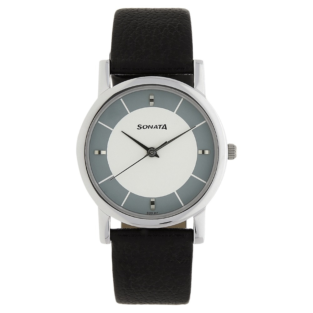 05d566fa359e Buy Sonata White Round Dial Leather Strap Analog Watches For Men  NJ7987SL01W Buy Online at Best Price in India   Titan.co.in