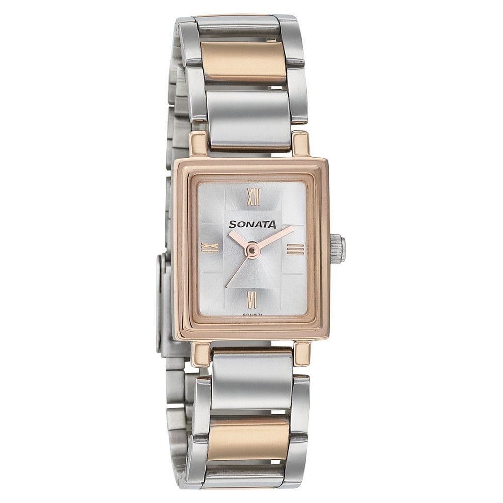2957379c6d9 Buy Sonata Silver Rectangle Dial Stainless Steel Strap Analog Watches For  Women 8080KM01 Buy Online at Best Price in India   Titan.co.in