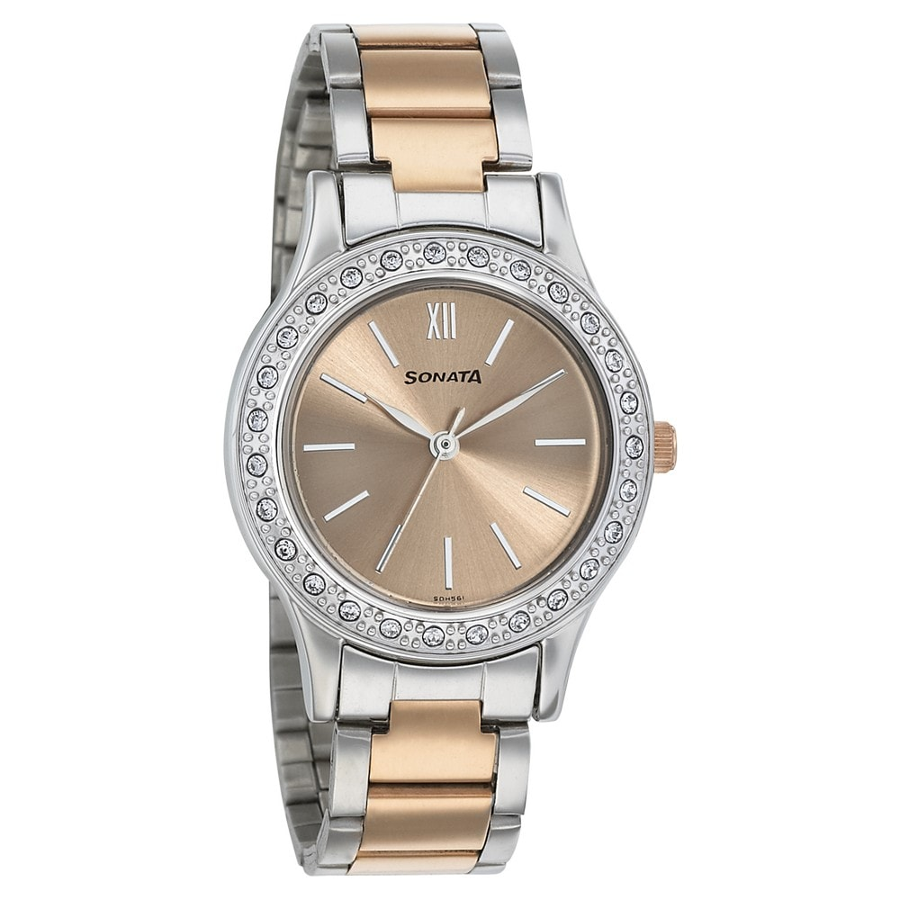 3c04fc8da Buy Sonata Rose Gold Round Dial Stainless Steel Strap Analog Watches For  Women 8123KM01 Buy Online at Best Price in India : Titan.co.in | Sonata