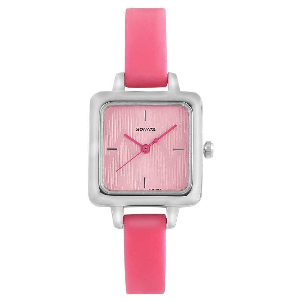 df86ade90 Buy Sonata Pink Square Dial Silicone Strap Analog Watches For Women  8152SP02 Buy Online at Best Price in India   Titan.co.in