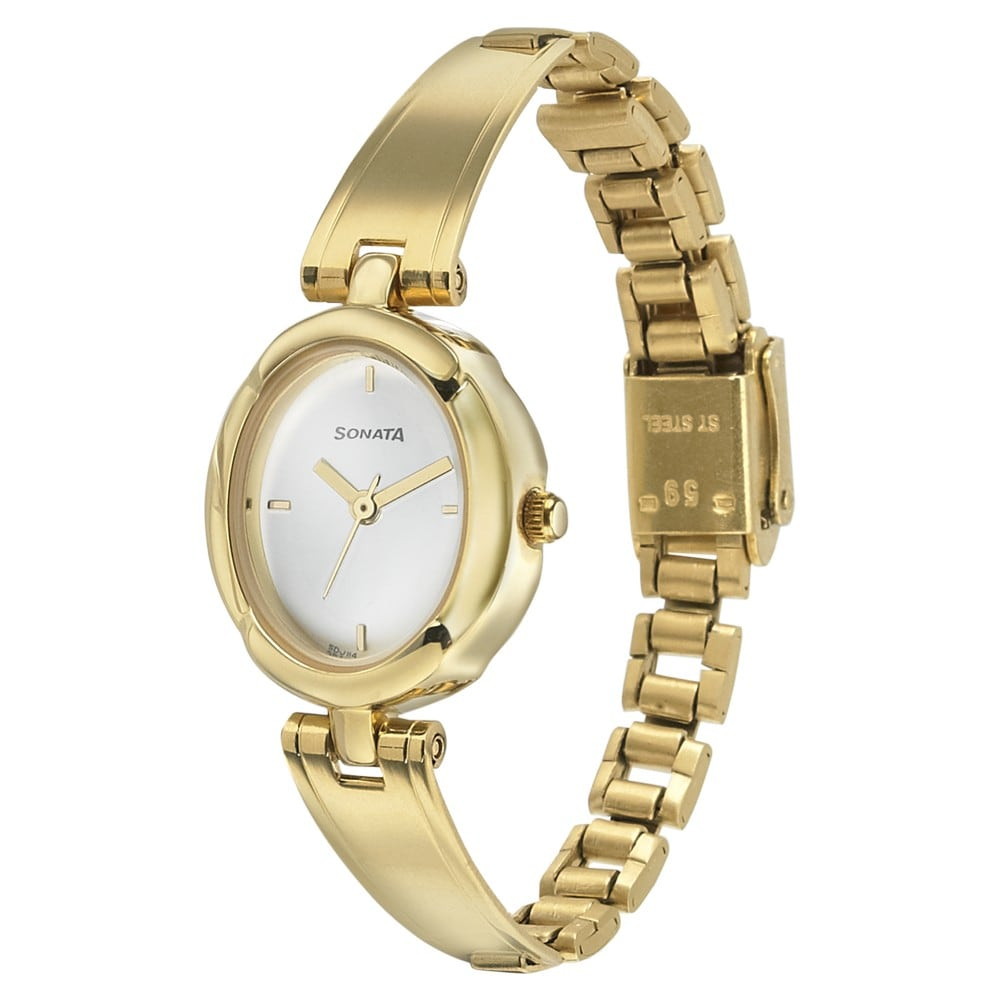 72b50841c89 Buy Sonata White Oval Dial Metal Strap Analog Watches For Women ...