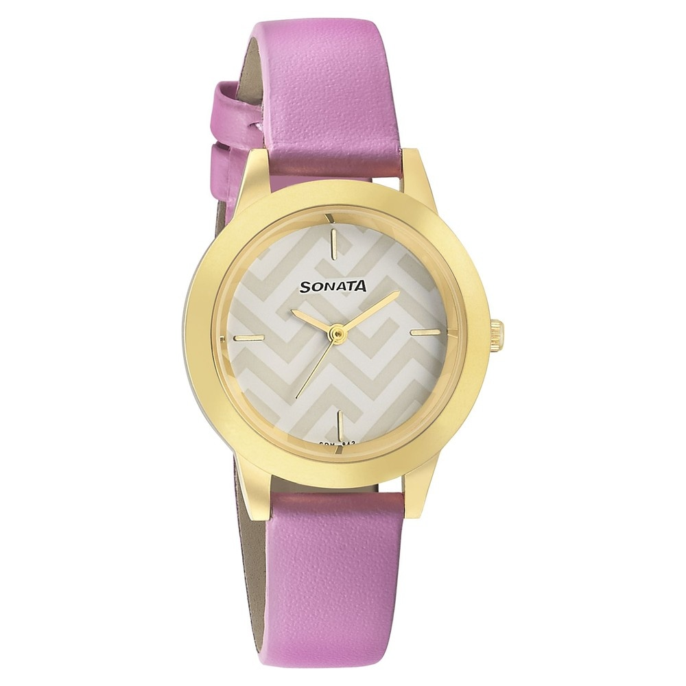 d54e7059d79 Buy Sonata White Round Dial Leather Strap Analog Watches For Women  87019YL02 Buy Online at Best Price in India   Titan.co.in